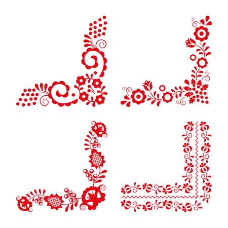 Ensemble de quatre ornements folkloriques traditionnels, broderie rouge isolé sur fond blanc, motif décoratif hongrois, illustration vectorielle