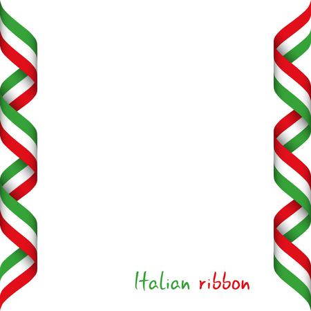 Colored ribbon with the Italian tricolor, symbol of the Italian flag isolated on white background, sign Made in Italy
