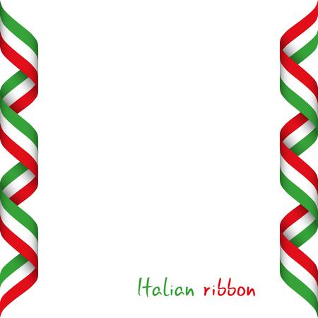 Gekleurd lint met de Italiaanse driekleur, symbool van de Italiaanse vlag die op witte achtergrond, teken wordt geïsoleerd dat in Italië wordt gemaakt Stock Illustratie