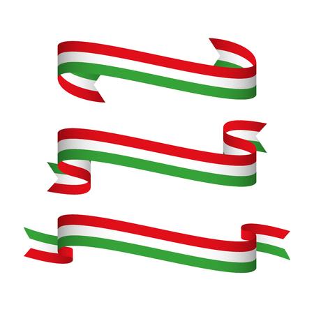 Set von drei modernen Bändern mit der italienischen tricolor, Made in Italien Symbol, Vektor-Illustration