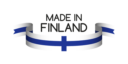 made in finland: Colored ribbon with the Finnish colors, Made in Finland symbol, Finnish flag isolated on white background, vector illustration