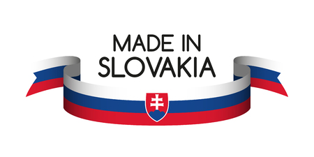 Colored ribbon with the Slovak tricolor, Made in Slovakia symbol, Slovak flag isolated on white background, vector illustration