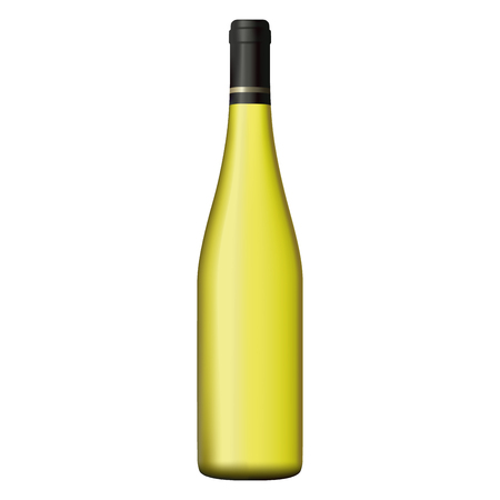 White wine bottle realistic illustration.