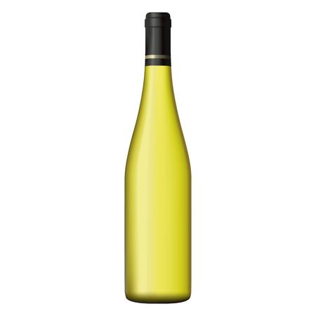 unopened: White wine bottle realistic illustration.
