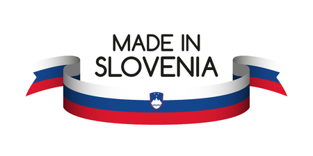 Colored ribbon with the Slovenian tricolor, Made in Slovenia symbol, Slovenian flag isolated on white background, vector illustration