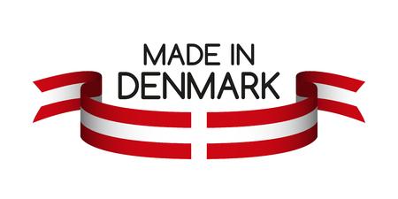 デンマークの色とリボンの色、記号デンマーク、デンマークで作られたフラグに孤立した白い背景、ベクトル イラスト  イラスト・ベクター素材