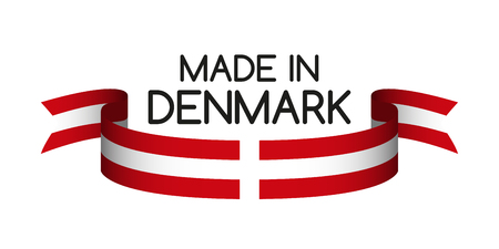 Colored ribbon with the Danish colors, Made in Denmark symbol, Danish flag isolated on white background, vector illustration