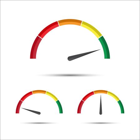 Reeks eenvoudige vectortacheters met indicator in groen, geel en rood deel, snelheidsmeterpictogram, het symbool van de prestatiesmeting dat op een witte achtergrond wordt geïsoleerd