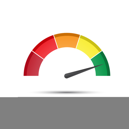 Color tachometer with a pointer in the green part, speedometer and performance measurement icon, vector illustration for your website, infographic and apps Illustration