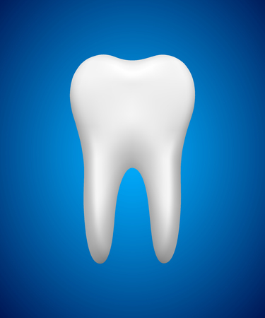 White tooth on blue background, stomatology icon, realistic vector illustration