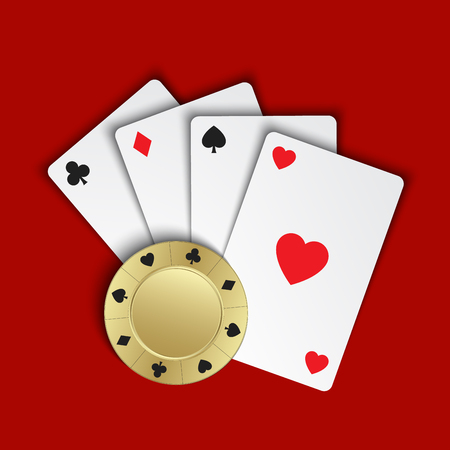Set of simple playing cards with casino chips on red background, vector illustration Illustration