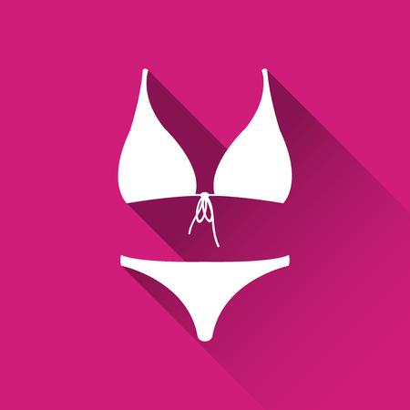 Simple female swimsuit icon, bikini symbol, modern flat style icon, vector illustration Illustration