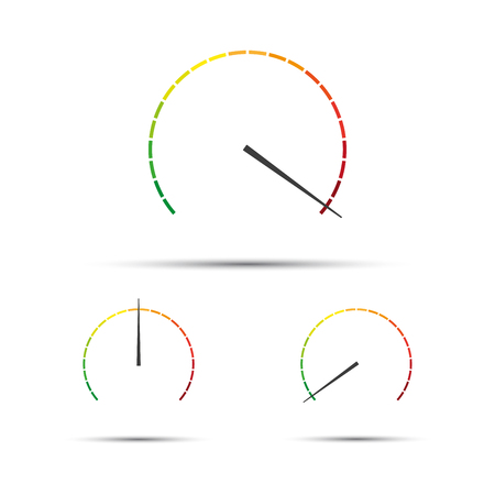 Set of simple vector tachometers with indicators in red, yellow and green part,  speedometer icon, performance measurement symbol isolated on white background Illustration