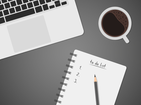 lay: Worktable top view with laptop, coffee and to do list, notebook with pencil, black coffee, keyboard, vector illustration of office desk, business concept