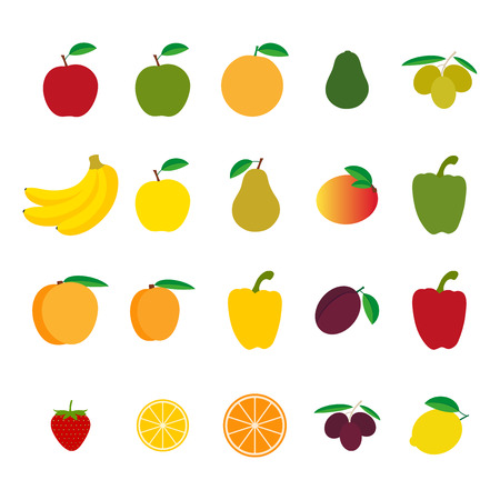 Set of fruit and vegetables, colorful vector illustration