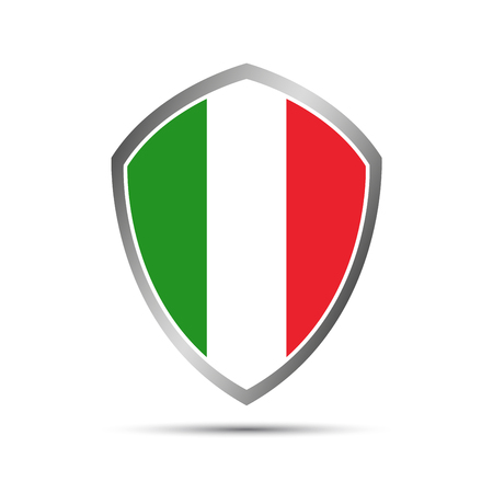 Simple Italian pointers in the shape of a shield, vector elements for your infographic
