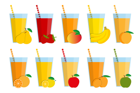 apple isolated: Set of fresh fruit juices and cocktails, fruit smoothie collection isolated on white background, pear, strawberry, mango, banana, peach, orange, lemon, red apple, apricot, green apple Illustration