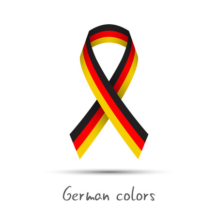 Modern colored vector ribbon with the German tricolor isolated on white background, abstract German flag, Made in Germany logo