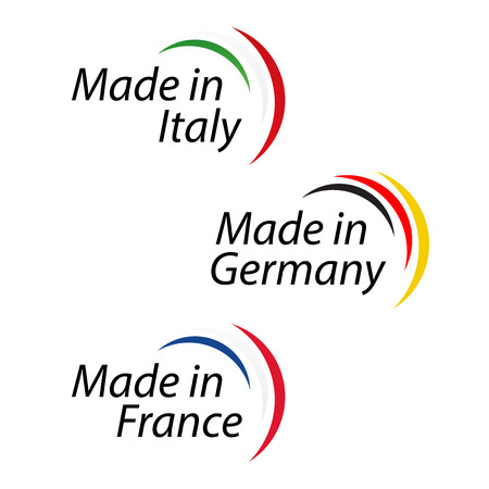 Eenvoudige logo's Gemaakt in Italië, Made in Germany en Made in France, vectoremblemen met Italiaanse, Duitse en Franse kleuren