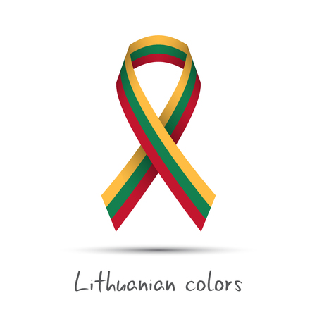 streamers: Modern colored vector ribbon with the Lithuanian tricolor isolated on white background, abstract Lithuanian flag, Made in Lithuania logo