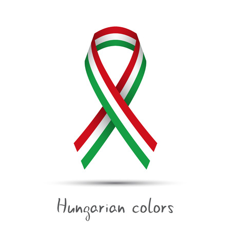 Modern colored vector ribbon with the Hungarian tricolor isolated on white background, abstract Hungarian flag, Made in Hungary logo Illustration