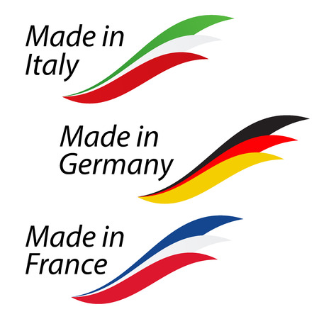 Simple logos Made in Italy, Made in Germany and Made in France, vector logos with Italian, German and French flags Stock Vector - 81167997