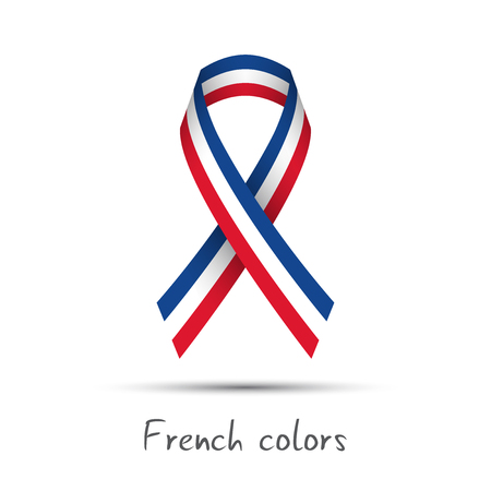 Modern colored vector ribbon with the French tricolor isolated on white background, abstract French flag, Made in France logo