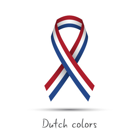 Modern colored vector ribbon with the Dutch tricolor isolated on white background, abstract Netherlandish flag, Made in Netherlands or Holland logo Illustration