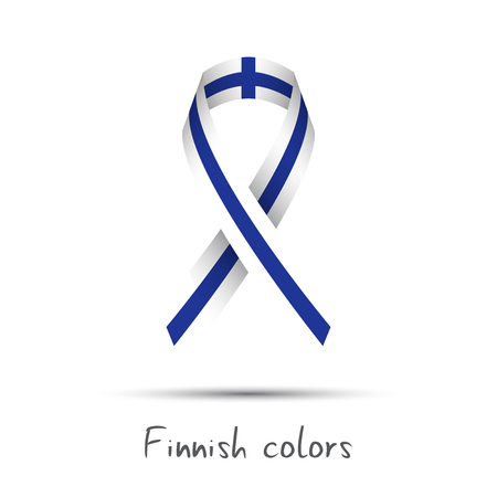 made in finland: Modern colored vector ribbon with the Finnish colors isolated on white background, abstract Finnish flag, Made in Finland logo Illustration