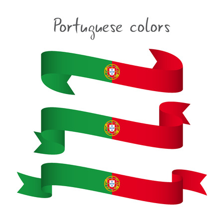 streamers: Set of three modern colored vector ribbon with the Portuguese colors isolated on white background, abstract Portuguese flag, Made in Portugal logo Illustration