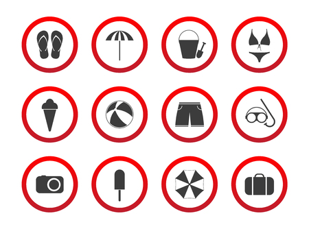 hand touch: Set of travel prohibition icons, beach restriction signs, icon set for your infographic, holiday symbols isolated on white background