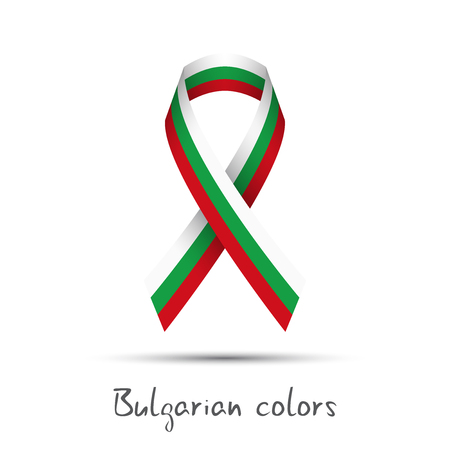 Modern colored vector ribbon with the Bulgarian tricolor isolated on white background, abstract Bulgarian flag, Made in Bulgaria logo