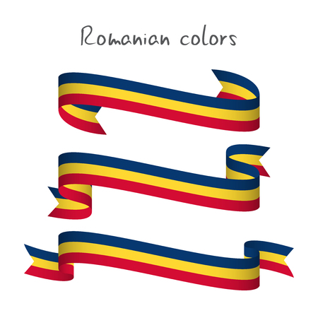 Set of three modern colored vector ribbon with the Romanian tricolor isolated on white background, abstract Romanian flag, Made in Romania logo