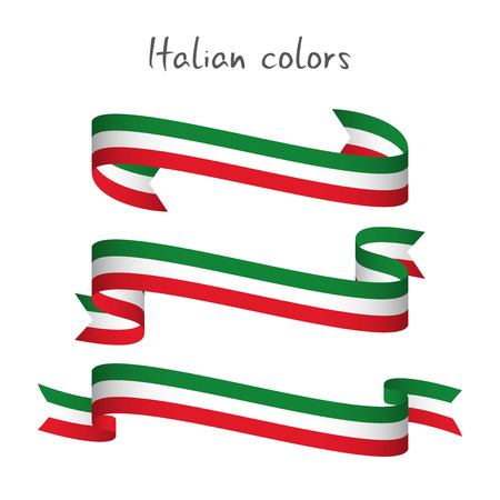 Set of three modern colored vector ribbon with the Italian tricolor isolated on white background, abstract Italian flag, Made in Italy logo