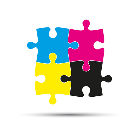 Abstract vector logo, four puzzle pieces in cmyk colors isolated on white background