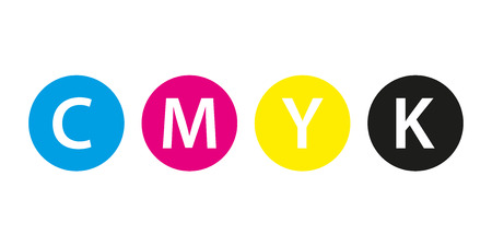 Cmyk print concept, four circles in cmyk colors, cyan, magenta, yellow, key, black isolated on white background Illustration