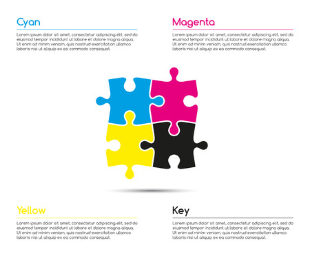 Minimalistic infographic template with four puzzle pieces in  cmyk colors for your business project, vector illustration
