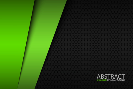 Black and green modern material design with a hexagonal pattern, corporate template for your business.