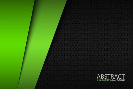 Zwart en groen modern materiaalontwerp met een zeshoekig patroon, bedrijfssjabloon voor uw bedrijf.