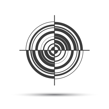 opportunity sign: Simple gray vector pictogram in the shape of a target isolated on white background Illustration