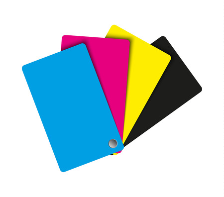 Cmyk palette, abstract sheets of paper in cmyk colors, vector illustration