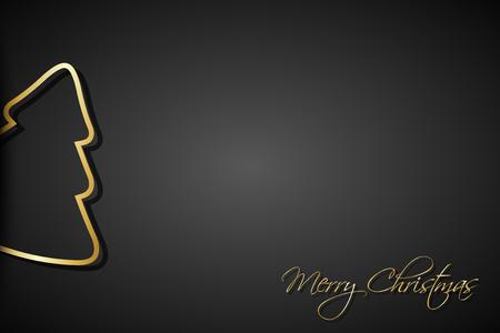 검은 배경에 현대 황금 크리스마스 나무, 메리 크리스마스 기호 휴일 인사말 카드 일러스트