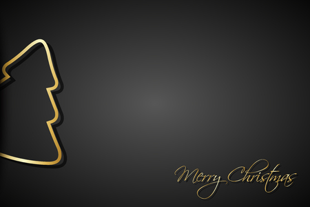 Modern golden christmas trees on black background, holiday greeting card with merry christmas sign Illustration