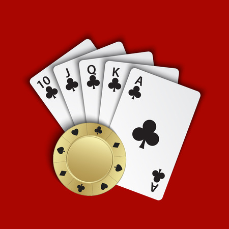 A royal flush of clubs with gold poker chip on red background, winning hands of poker cards, casino playing cards and chip