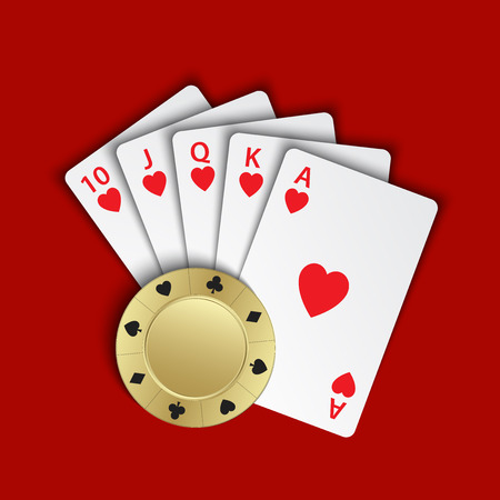 A royal flush of hearts with gold poker chip on red background, winning hands of poker cards, casino playing cards and chip Illustration