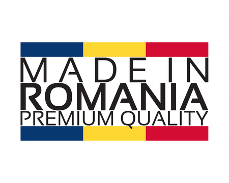 Made in Romania icon, premium quality sticker with Romanian colors, vector illustration isolated on white background Illustration