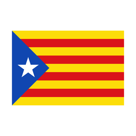 Bandera catalana realista con sombra, Cataluña, ilustración vectorial aislado sobre fondo blanco