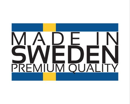 Made in Sweden icon, premium quality sticker with Swedish colors, vector illustration isolated on white background