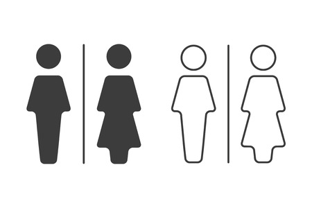 Simple grey and white wc symbols, vector restroom illustration, man and woman icons isolated on a white background