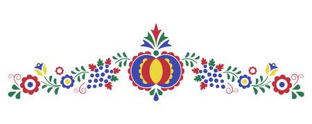 Ornement folklorique traditionnel, l'ornement morave de la région Slovacko, symbole de broderie florale isolé sur fond blanc, illustration vectorielle Vecteurs